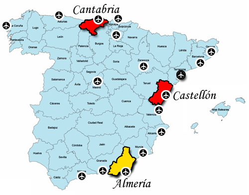 Almería and surrounding Airports