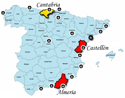 Cantabria and surrounding Airports