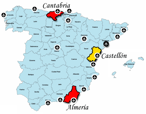 Castellón and surrounding Airports